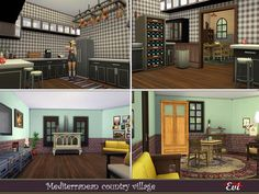 evi's Mediterranean country village.. Italy Spain, Kilim Runner, Sims Community, City Living, House Interiors, Big Family, Tuscany, Mansions, Country