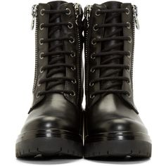 Moncler Black Leather Viviane Combat Boots (880 AUD) ❤ liked on Polyvore featuring shoes, boots, ankle booties, lace up boots, zipper combat boots, black army boots, leather heel boots and military boots