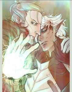 Fenders! Anders and Fenris. <3 Dragon Age 2 fan art. I don't remember the original DA artist but he/she does such an amazing job with them. :)