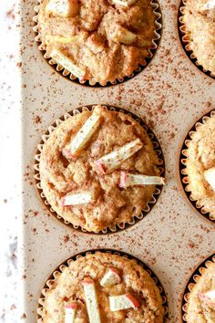 These healthy apple cinnamon muffins are hearty and made with simple pantry staples. They're perfectly spiced and refined sugar free. Healthy Muffin Recipes, Healthy Muffins, Healthy Cookies, Healthy Baking, Healthy Food, Healthy Apple Cinnamon Muffins, Apple Muffins, Cinnamon Apples, Baking With Almond Flour