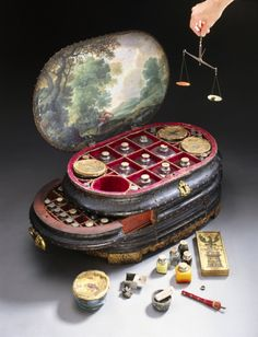 This magnificent and unique medicine chest was made for Vincenzo Giustiniani (d. 1570), the last Genoese governor of the island of Chios in the eastern Aegean Sea. He ruled Chios from 1562 until the Turks expelled the Genoese in 1566 after an occupation of some two hundred years. On a box from the middle drawer is painted the symbol of Chios – a black eagle above a three-towered castle. The chest contains 126 bottles and pots for drugs, some of which still have their original contents.