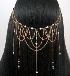 Jewelry like this. Head Jewelry, Body Jewelry, Wire Jewelry, Jewelry Crafts, Jewelery, Handmade Jewelry, Jewelry Accessories, Jewelry Design, Renaissance Jewelry