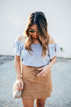 haute off the rack, tan suede skirt, lace up suede skirt, Louisiana fashion blogger, new orleans blogger, off the shoulder top, tan slingback heels, cross body bag, transitional outfit, women's fashion, summer outfit, Abercrombie & Fitch