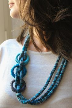Items similar to Long crochet necklace, hand-woven wool on Etsy Rope Jewelry, Scarf Jewelry, Textile Jewelry, Fabric Jewelry, Jewelry Crafts, Jewellery, Knitted Necklace, Crochet Earrings, Finger Knitting