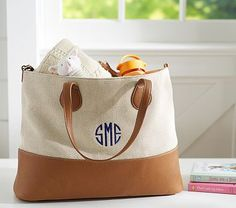 Cognac Canvas Leather Tote. $100 on sale. Add Monogram. From Pottery barn kids.