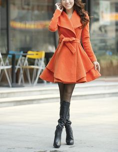 Khaki / Orange /Green/ Pink wool women coat women dress coat Apring Autumn Winter --CO062 on Etsy, $88.99