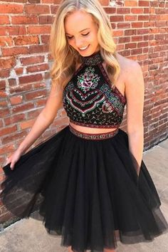Two Piece Halter Backless Above-Knee Black Prom Homecoming Dress with Embroidery Dress Party Dress J7429