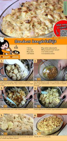 Mennyei desszertre vágysz? Próbáld ki a Banános kenyérfelfújt receptet! Nem fogsz csalódni! A Banános kenyérfelfújt recept videóját a kártyán levő QR kód segítségével bármikor megtalálod! :) #BanánosKenyérfelfújt #ReceptVideók #Recept #Sütemény #Desszert #SüteményRecept Breakfast For Dinner, Breakfast Recipes, Food Porn, Fast Dinners, Hungarian Recipes, Winter Food, No Bake Cake, Meal Planning, Good Food