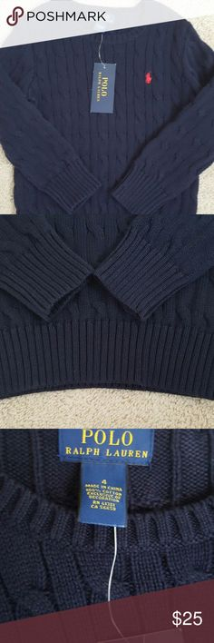 Polo Ralph Lauren Boy's Size 4 Cable Knit Sweater Ralph Lauren cable knit sweater Navy with red embroidery Boys size 4 New with tags  Please see pictures for details. Polo by Ralph Lauren Other