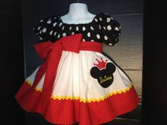Custom Made Minnie Mouse DRESS Embroidered  Crown Princess Applique Ears NAME Inspired Red black Polka dot 24M 2T 3T 4 5 6