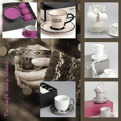 Juegos de café en beige, blanco, violeta y plata.