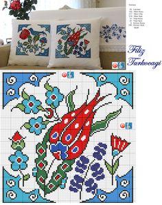 Çini olmadan olur mu ? :)) Designed and stitched by Filiz Türkocağı...( İznik chini )