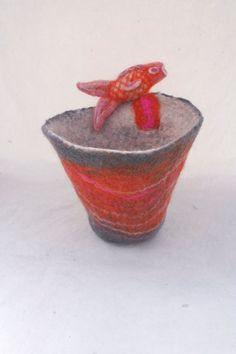 Orange Grey Felted Bowl Needle Felted Fish and by FrouFrouFelt, $20.00