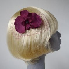 Purple Orchid Haircomb with Veiling by ImogensImagination on Etsy, £7.50