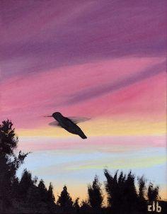 Hummingbird at Sunset 11x14 Original Painting by CFineArtStudio