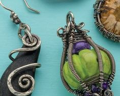 Suspension Spirals and Enchanted Lantern wire bezel designs by Janice Berkebile - from Bezel Alternatives: 4 Ways to Set Stones (and Shells, Beads, and More) in Wire with Janice Berkebile - Jewelry Making Daily