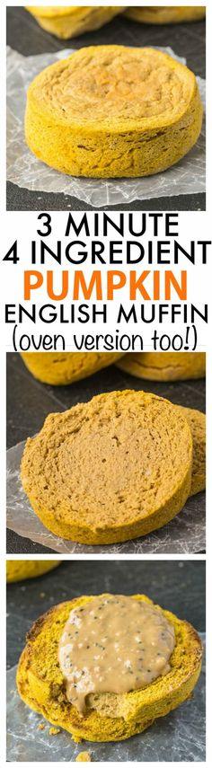 3 Minute Pumpkin English Muffin which only needs FOUR ingredients! Dense and delicious, these clock in less than 100 calories and are the best bread alternative! {paleo, grain-free, gluten-free + vegan option} -thebigmansworld.com