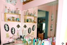 "My ""Ultra Girly"" Master Bathroom Tags: Pink, Teal, Aqua, Poodles, Vintage, Retro, Pinup, 50s, Feminine, Powder Room"