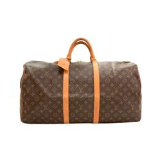 Pre-Owned Vintage Louis Vuitton Keepall 55 Monogram Canvas Duffle... ($499) ❤ liked on Polyvore featuring bags, luggage and brown