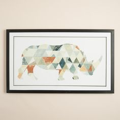 This mighty, modern rhino is made up of a mix of geometric shapes and colored with earthy tones reminiscent of the arid desert. It comes ready to hang in a wood frame under glass with double matting.