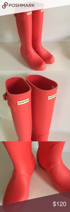 Hunter Matte Pink Coral Tall Boots Awesome boots in an even better color. Tall style, matte with contrasting pink stripe at back. Slight scuffs (see photo). Worn once outside. Gorgeous! High end look, Poshmark prices. Offers always warmly received. Hunter Shoes Winter & Rain Boots