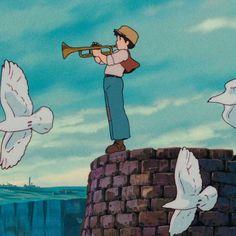 Studio Ghibli Art, Studio Ghibli Movies, Pom Poko, Studio Ghibli Characters, Castle In The Sky, Sky Painting, Howls Moving Castle, Scenery Wallpaper, Miyazaki