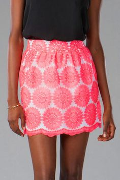 Joyce Embroidered Floral Skirt...eye popping color with black. Found at Francesca's, Austin, TX.
