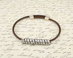 Adjustable Length - Secret Message THIN stamped bracelet - Your favorite quote or custom message Hand Stamped and wrapped around a Brown leather bracelet with adjustable toggle. Custom made for you. *** Visit the image link more details. (Amazon affiliate link)
