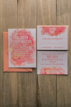 Gorgeous handwritten blue, blush and coral watercolor wedding invitations by Just Invite Me