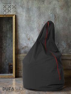 Pufa Egg tkanina czarna aranzacja, czerwony zamek siedzisko