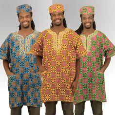 Men's Nigerian Print Dashiki & Cap, Utopia Designs & Accessories $27.90