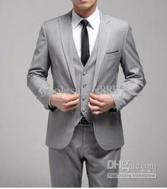 Custom made? Actual tux...   Wholesale Men Suits - Buy New Style One Button Slim Fit Light Grey Groom Tuxedos Side Slit Groomsmen Men Wedding/Dinner SuitsJacket+Pants+Tie+VestH129, $109.0 | DHgate