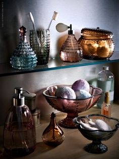 My bathroom is severely lacking pretty bowls/jars/bottles. I can't wait for garage sale season to eradicate this problem.