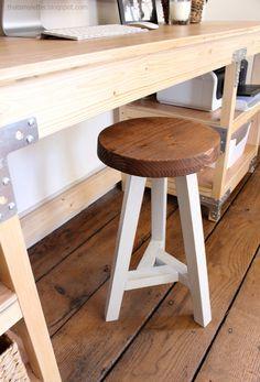 desk stool, 3 legged stool, wood stool with 3 legs, diy stool