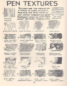 Pen & ink techniques #sketch #textures #art #tutorial #lesson #tips