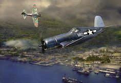 Gunfight over Rabaul by the artist Jack Fellows showing Major Boyington in his F4U-1A #883. Signed print available at : http://www.aviationarthangar.com/avarthaguovr1.html