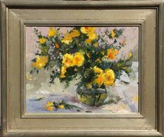 Robert Moore  Yellow Roses   Oil - 14 by 18 Inches  $1,500 www.trailsidegalleries.com #paintings #still-life #floral