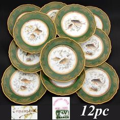 "Antique Limoges 12pc 9"" Fish Plate Set, Green & Raised Gold Borders, HP & Signed"