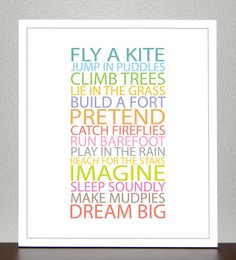 Prints for kids. Inspiration quote prints for children - BE A KID - 8x10 Poster. $20.00, via Etsy.