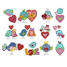 Love Birds Applique Machine Embroidery Designs | Designs by JuJu