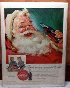 Original Vintage 1950's Coca-Cola Santa Ad