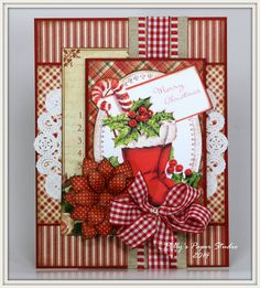 Christmas Boots and Holly Holiday Greeting Card by PollysPaper