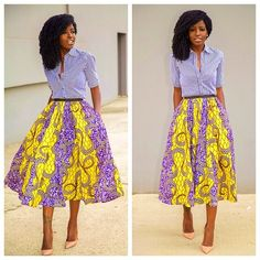 Striped Shirt + African Print Midi Skirt