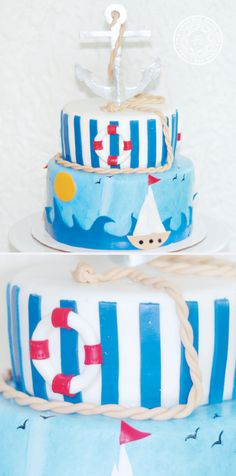 """Sailor Themed Bridal Shower Cake Sailor Themed Bridal Shower Cake This was a cake made for a bridal shower who's theme was """"Sail away with me"""". I like the..."""