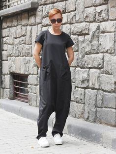 Black drop crotch jumpsuit / Sleeve Harem jumpsuit / by CARAMELfs https://www.etsy.com/shop/CARAMELfs