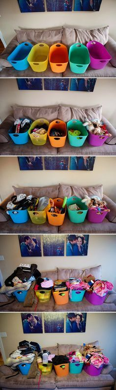 hmmm. get rid of 10 things a day for 5 days to clear the clutter. i think we might try this