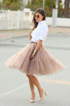 Tulle Midi Skirt in Caramel