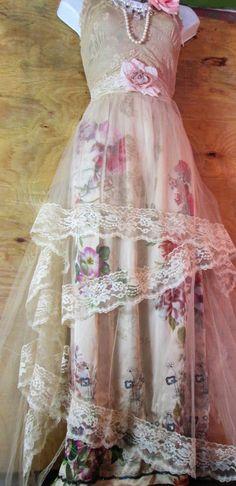 Lace floral dress cream beige wedding bridesmaid flower girl rose  romantic medium   by vintage opulence on Etsy