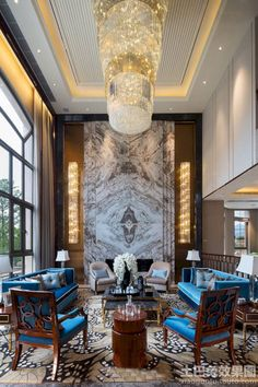 Inspiring Chinese Living Room Decoration Ideas – Page 15 – Home Interior and Design Luxury Interior Design, Luxury Home Decor, Luxury Homes, Contemporary Interior, Luxury Apartments, Interior Paint, Plafond Design, Luxury Chandelier, Chandeliers