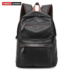 (26.67$)  Watch here - http://ai2oq.worlditems.win/all/product.php?id=32572201357 - MAGIC UNION Oil Wax Leather Backpack Casual Bags & Travel Backpacks For Men Western College Style Leather School Backpack